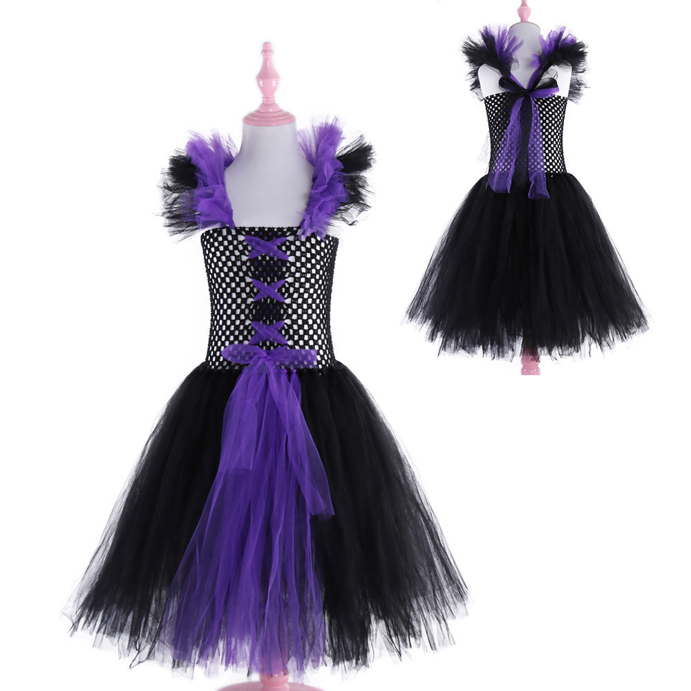 Image 4 - Maleficent Evil Queen Girls Tutu Dress Tulle Children Kids Party Dresses for Girls Carnival Halloween Witch Cosplay Costume-in Dresses from Mother & Kids