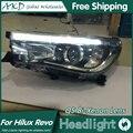 Estilo Do Carro para Hilux AKD LEVOU Faróis 2015 Hilux Nova Revo Bi Xenon Lente High Low Feixe do farol DRL Estacionamento luz de Nevoeiro
