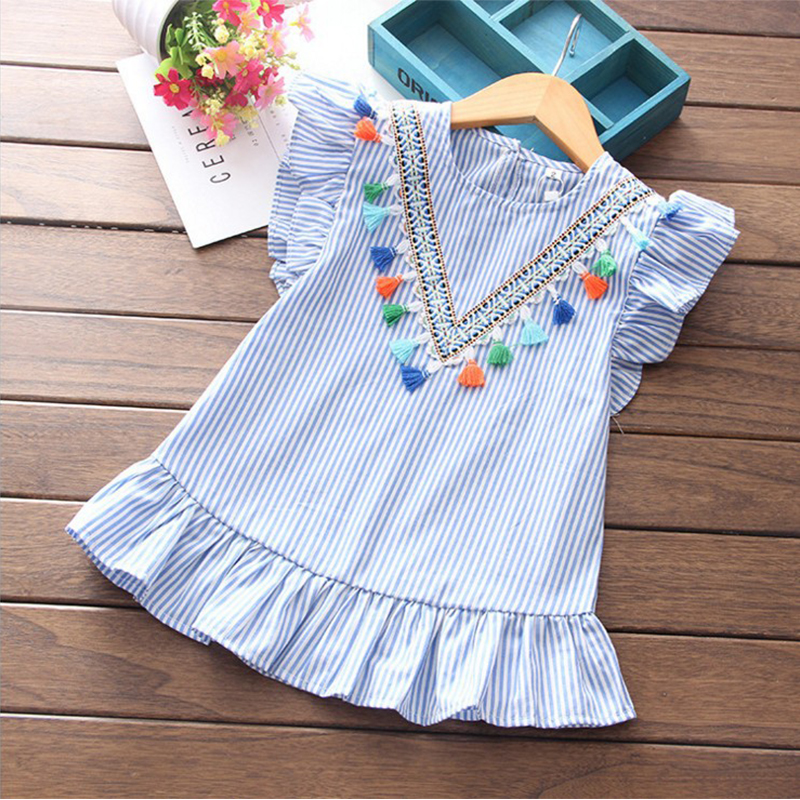 HTB1lVXfQlLoK1RjSZFuq6xn0XXaO Newborn Baby Girl Family Matching Clothes Mom And Daughter Dress Nine Quarter Stripe Tassel Mini Mother And Daughter Outfits