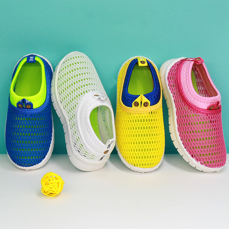 JGSHOWKITO Boys Girls Half Sandals Kids Summer Beach Shoes Children Casual Shoes Cut-outs Air Mesh Breathable Candy Colors Soft