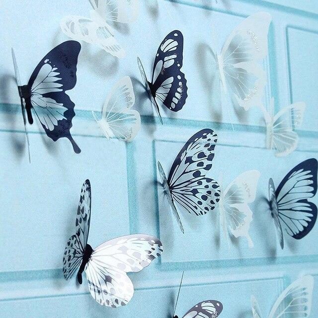 3D Black & Transparent Butterfly 18pcs 21*29.5cm/PC 2