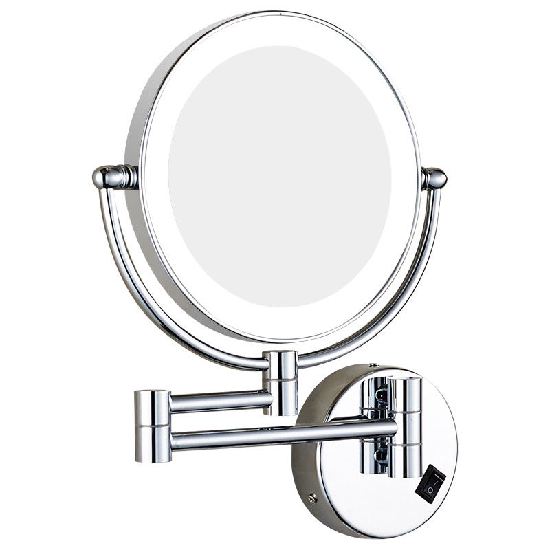 GURUN Double Sided LED Lighted Makeup Mirror Bathroom Wall Mounted Extendable Round Mirror with lights, with Plug, Chrome Finish все цены