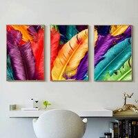 CHENFART 3 Peças Coloridas Penas Pintura Da Lona Wall Art Pictures For Living Room Home Decor No Frame