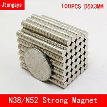 Jtengsys 100pcs Super Strong Rare Earth mini 5mm x 3mm Permanet Magnet Round Neodymium N52 N38 5*3MM surface plate nickel