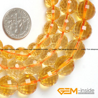 Round Faceted Citrine Beads Selectable Size 8mm 10mm 12mm Fashion Jewelry Beads For Bracelet Making Strand