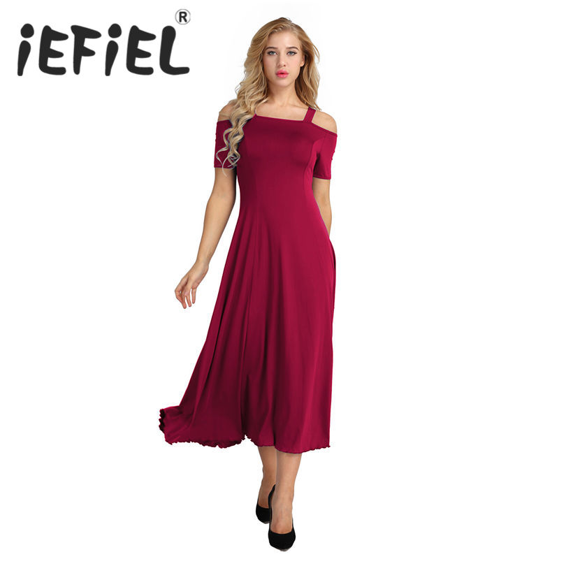 iEFiEL Women Fashion Summer Short Sleeve Solid Color Stretchy Party A-line Long Dress Ballroom Competition Dancing Dresses