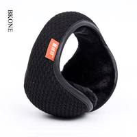 BKONE Winter Knitted Earmuffs For Men Women Foldable Ear Warmers Ear Bag Adjustable Warm Plush Earmuffs