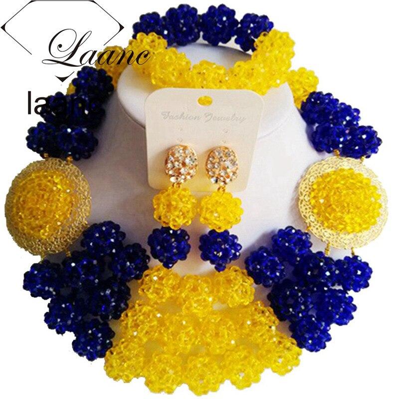 Laanc perles africaines mariage nigérian ensembles de bijoux de mariée cristal bleu Royal et jaune AL387