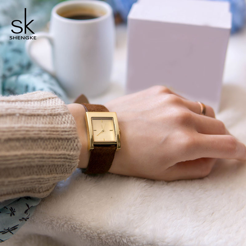 Shengke Creative Square Dial Women Quartz Watch Ladies Fashion Wrist Watch Reloj Mujer 2018 SK Women Leather Watches #K0080 shengke brand fashion watches women casual leather strap female quartz watch reloj mujer 2018 sk women wrist watch k8025