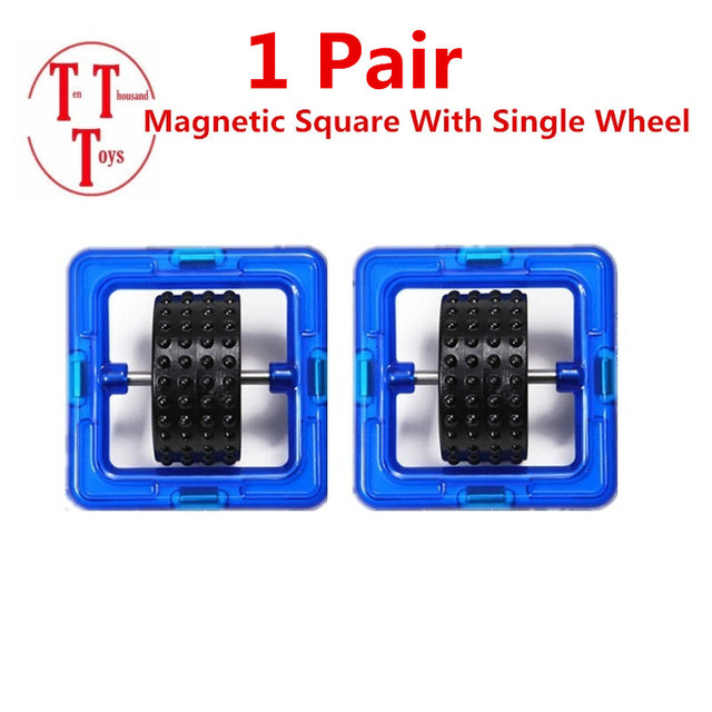 Magnetic Block Parts  Square With Single Wheel Magnetic  Building Block Construction DIY Bricks Educational Toys For Kids Gift