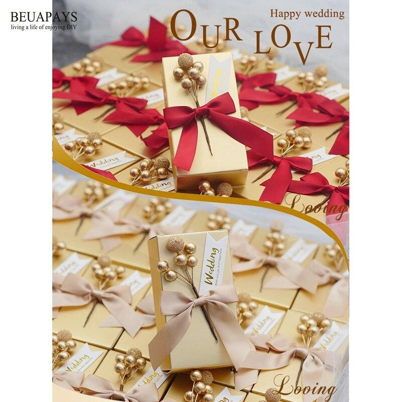 50 sztuk złoty cukierki pudełko z kokardą artykuły ślubne towarzyszących prezenty prostokątne cukierek karton ślub pudełko DIY dekoracji w Torby na prezenty i przybory do pakowania od Dom i ogród na  Grupa 2
