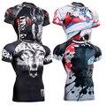 Мужские Рубашки Сжатия Бодибилдинг Skin Tight С Коротким Рукавом Майки Rashguard ММА Crossfit Гиревому спорту Рубашки