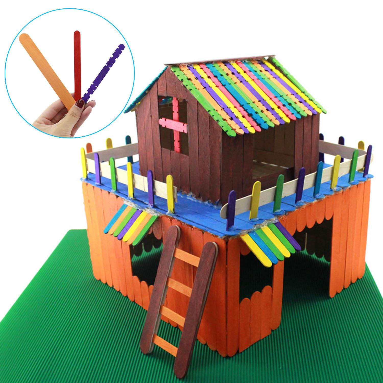 Besegad 50pcs Colored Wooden Popsicle Stick DIY Craft Toy Ice Pop Cream Stick Toy For Children Kid DIY Creative Designs Handmade