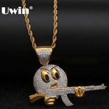 Uwin Angry Emoji Face With Gun Pendant Top Quality Micro Paved Cubic Zirconia Cool Necklace Gold Chain Mens Hiphop Jewelry(China)