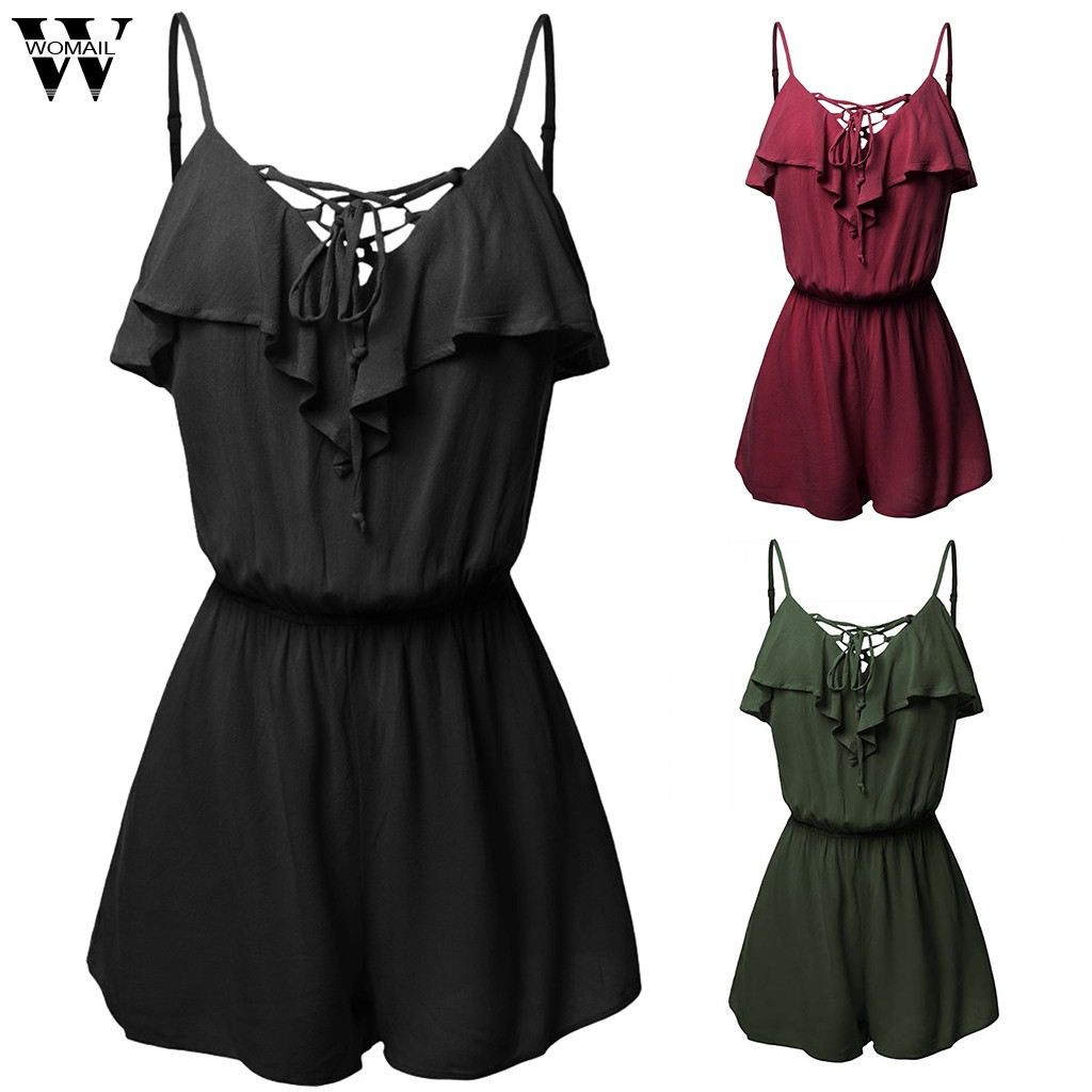 Womail Bodysuit Women Summer Fashion Boho Sleeveless Sexy Plus Size Mini Beach Sundress Shorts Jumpsuits Holiday 2019 A26