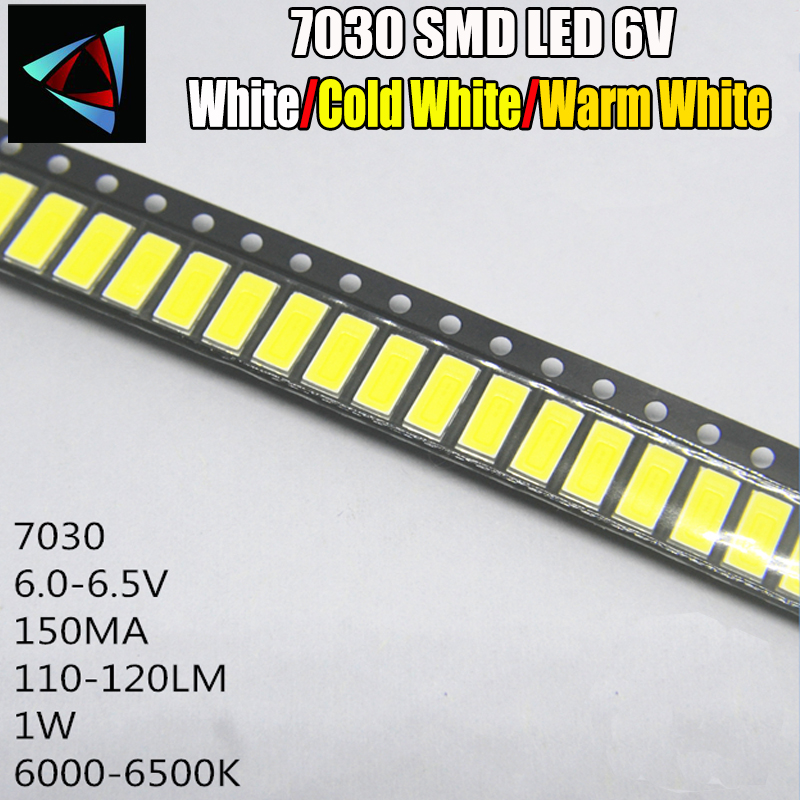 100pcs FOR <font><b>LG</b></font> Innotek <font><b>LED</b></font> <font><b>LED</b></font> Backlight <font><b>1W</b></font> 7030 <font><b>6V</b></font> Cool white <font><b>TV</b></font> Application smd 7030 <font><b>led</b></font> cold white 100-110lm 7.0*3.0*0.8mm image