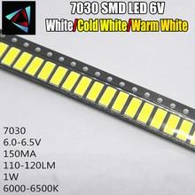 50 pces para lg innotek led luz de fundo 1 w 7030 6 v branco fresco aplicação smd 7030 led branco frio 100-110lm 7.0*3.0*0.8mm