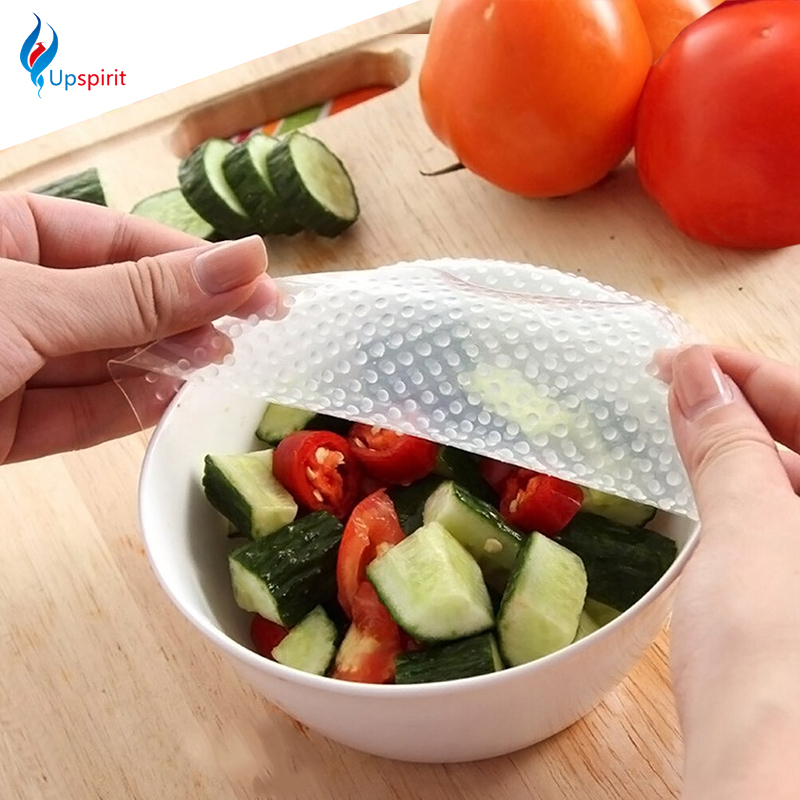 New 4pcs Multifunctional Food Fresh Keeping Saran Wrap Kitchen Tools Reusable Silicone Food Wraps Seal Vacuum Cover Lid Stretch