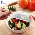 Nuevo 4 unids multifuncional comida fresca mantenimiento Saran Wrap cocina herramientas reutilizables silicona alimentos envolturas sello tapa de vacío estiramiento
