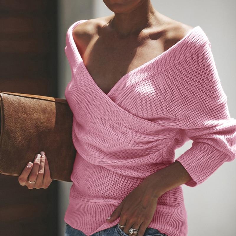 Новинка 2019, женские весенние однотонные вязаные пуловеры с длинным рукавом и v образным вырезом, Женские Модные осенние сексуальные свитера с перекрещивающимися вставками, размер s xl