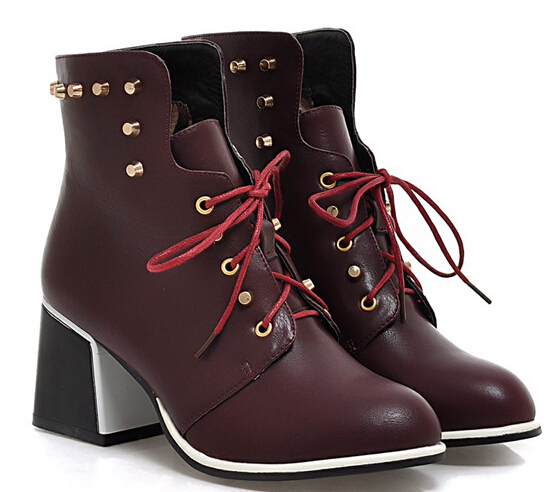 Europe and America Women Autumn Winter Thick High Heel Rivets Round Toe Lace Up Fashion Ankle Martin Boots Size 34-39 SXQ0812 dreambox 2017 autumn and winter trends in europe and america woven leather breathable shoes in thick soled sports shoes men