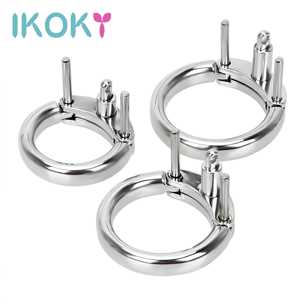 IKOKY Male Penis Lock Additional Cock Ring 3 Size Choose Chastity Device Restraint Cock Cage Accessories Male Masturbation