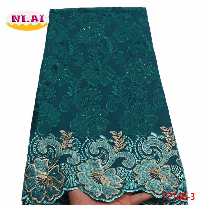 Green Lace Dresses For Mans African Lace Fabric 2019 High Quality Swiss Voile Lace In Switzerland Lace Material NA1716B-1