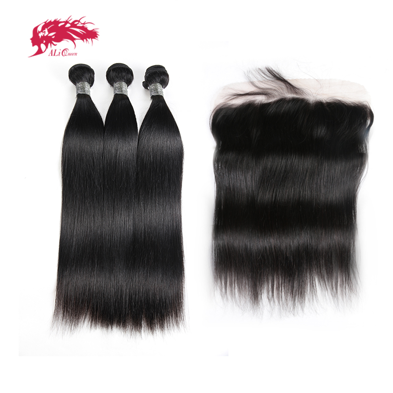 Ali Queen Hair Products Peruvian Remy Hair Bundles With Lace Closure Straight Natural Color Human Hair