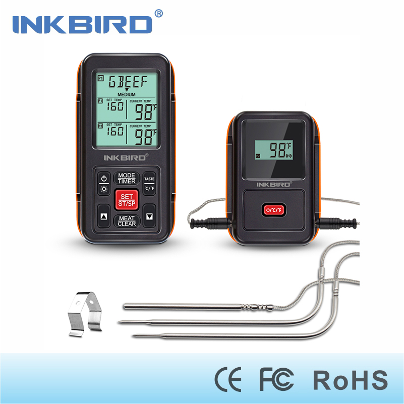 Inkbird Remote Wireless Home Use RF Thermometer IRF 2S 1000 Feet for Cooking BBQ Grill Oven Smoker with Three Food Grade Probes