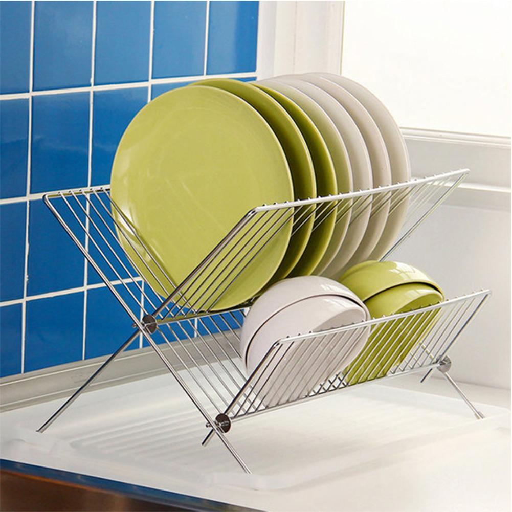 New Folding X Shape Kitchen Organizer Pot Lid Rack Stainless Steel Spoon Holder Dish Rack Pan Cover Stand Kitchen Accessories