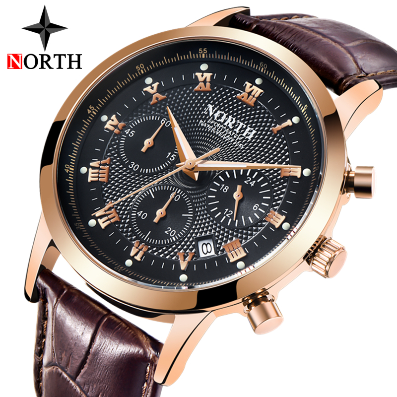 NORTH Chronograph Sport Military Leather Casual