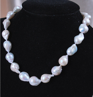 Free shipping 12 16mm Real Natural White Akoya Baroque Pearl jewerly Necklace 18 6.09