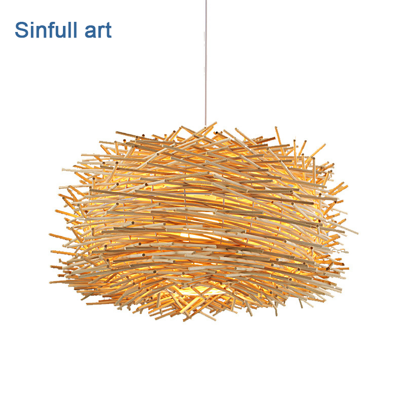 Modern Wicker Pendant Lights Bird's Nest Hand Knitting Hanging Lamp Living Room dining room suspension light E27 indoor lighting modern wicker pendant light bird cage hand knitting pendant hanging dining room lamp american style for living room lighting
