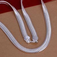 Fashion 925 Silver 10MM Flat Snake Necklace Chain For Men Charm 20 50cm Long Necklace Jewelry