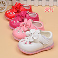 2016 0 to 24 months LED baby lights shoes flowers infant girl princess shoes soft bottom newborn toddler shoes first walker
