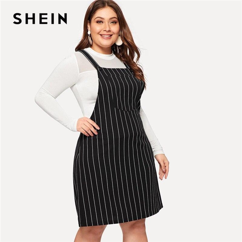 Шеин плюс размеры черный полосатый бретели для нижнего белья мини Сарафан для женщин 2019 элегантный дизайн трапециевидной формы коротки