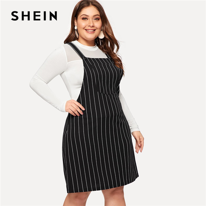 SHEIN Plus Size Black Striped Straps Mini Pinafore Dress Women 2019 Preppy Style A-Line Short Dresses plus size short overalls