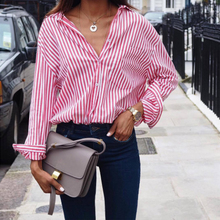 Fashion Hot Sale Casual Comfortable Blue Pink Blouse  Autumn Long Sleeve Striped Blouse Women Large Size Loose Casual Shirt casual twist blouse