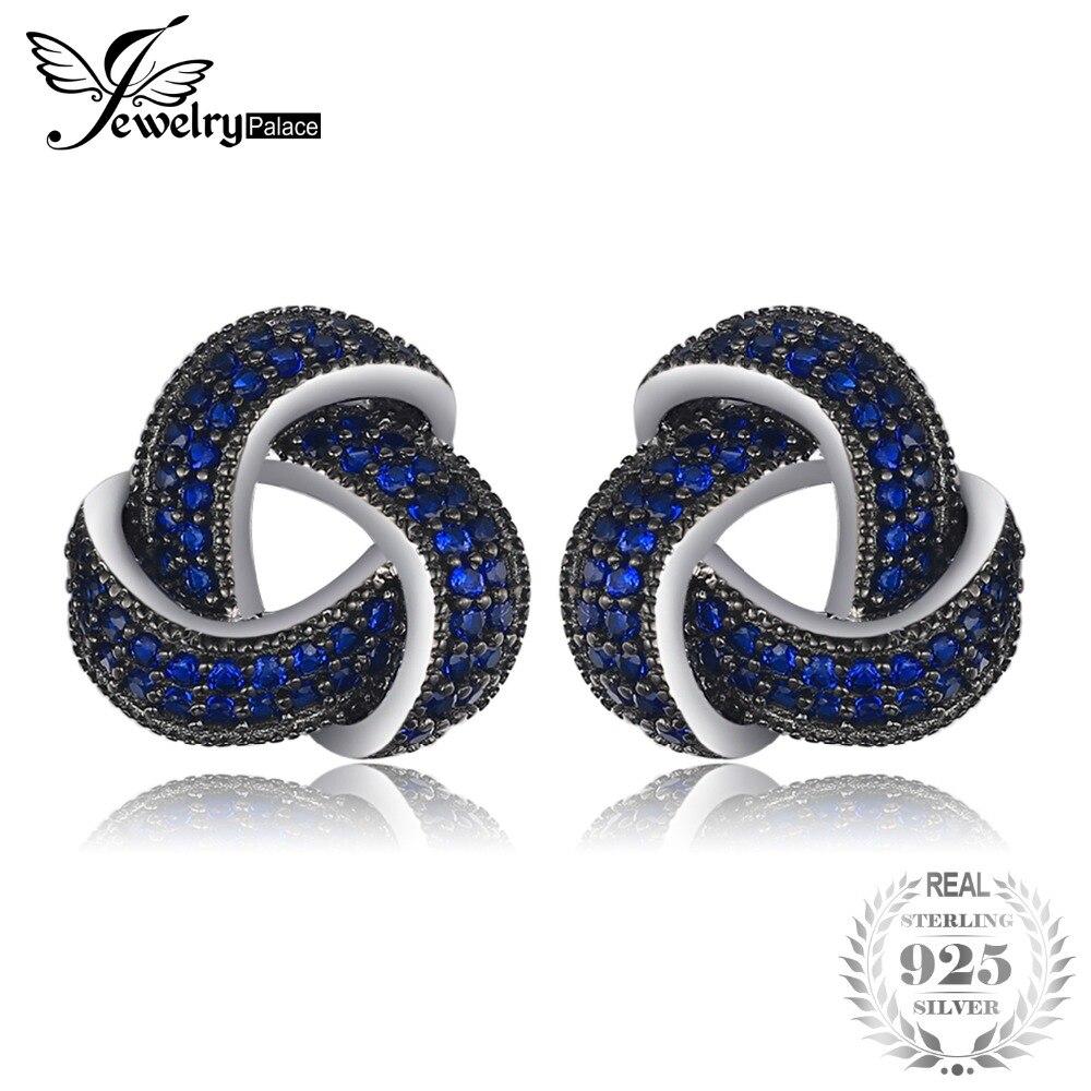 JewelryPalace 0.5ct Creato Blu Spinello Fiore Avvolgente Cluster Orecchini Delle Viti Prigioniere 925 Gioielli In Argento Sterling per Le Donne