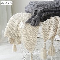 Cobertor de borla de malha cobertor de viagem de ar condicionado simples para a cama cobertura de sofá de casa têxtil anti-pilling cobertor de lance portátil