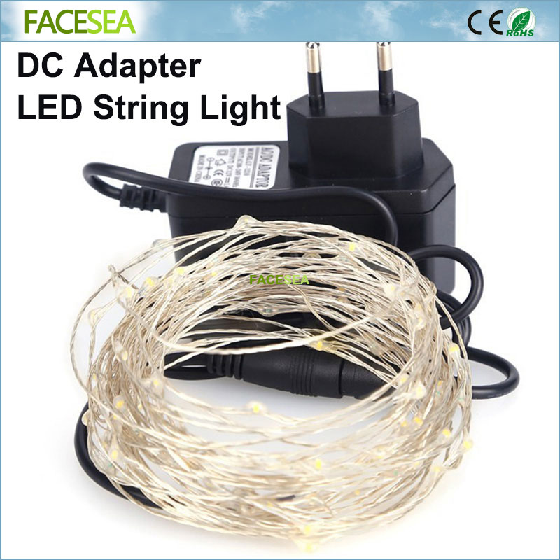 10M 100LEDs Copper wire silver LED string Waterproof & DC12V 1A Power adapter EU For Christmas light, Party,Wedding decoration ...
