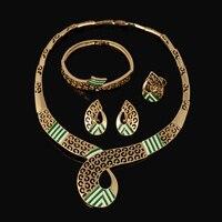 Insieme Dei Monili Dello Smalto di Modo di marca Nero Verde Dubai Collana Color Oro Anelli Set Braccialetto Anello Per Le Donne Belle Monili di Costume