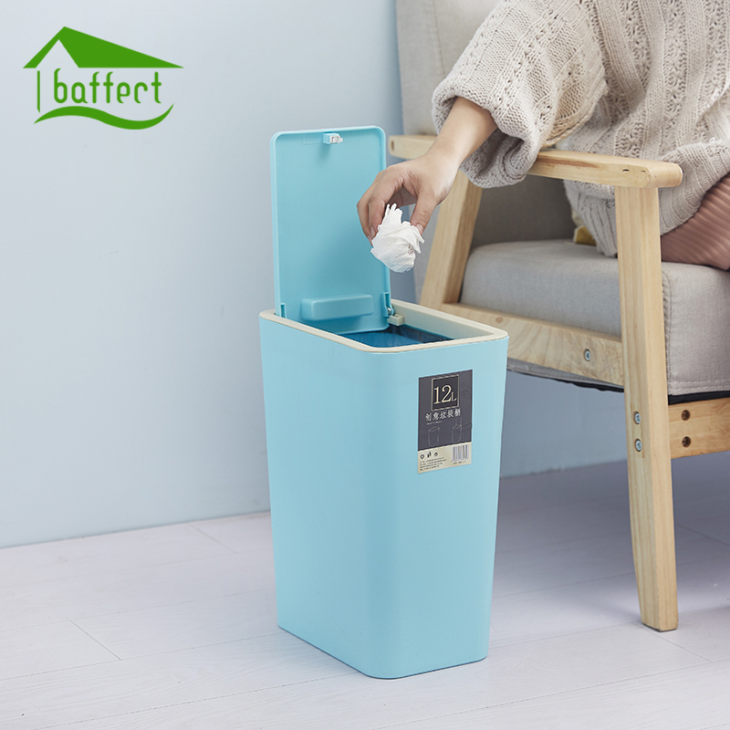 Creative Fashion Plastic Trash Can 8L/12L Pressing Cover Type Kitchen Waste Bin Sitting Room Toilet Trash Office Paper Basket ...