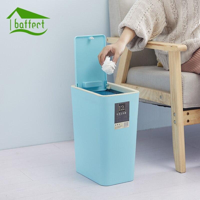 Mode créative En Plastique Poubelle 8L/12L Pressage Type Poubelle de Cuisine Salon Toilettes Poubelle Bureau Papier panier