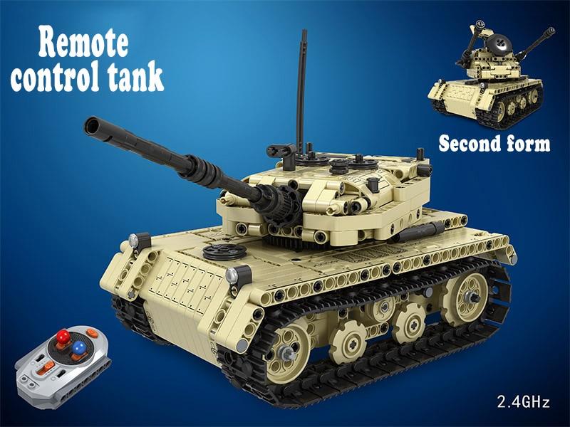 MOC العسكرية خزان التحكم عن بعد 2.4GHz تكنيك مع المحرك مربع 759 قطعة اللبنات الطوب الخالق لعب للأطفال-في حواجز من الألعاب والهوايات على  مجموعة 2