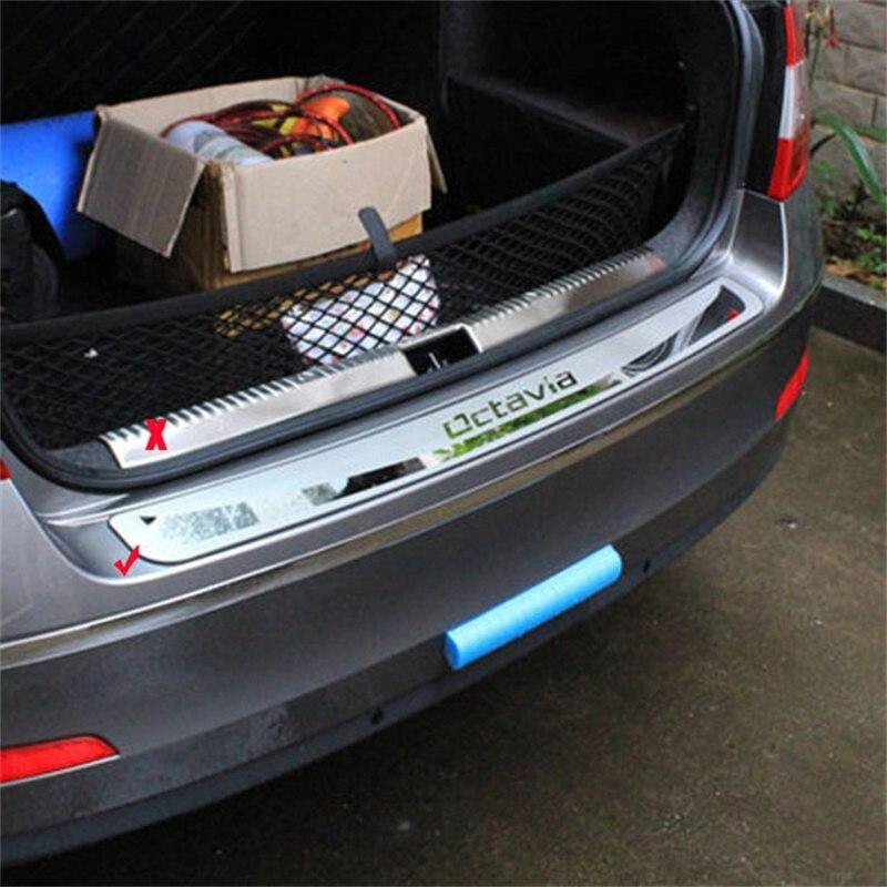 Pour Skoda Octavia A7 2013 2014 2015 2016 protecteur de pare-chocs arrière externe bas de caisse couvercle de coffre garniture en acier inoxydable pièce de voiture