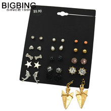 BIGBING jewelry fashion 15 pairs pearl crystal star stud earrings set fashion stud earring high quality free shipping M024(China)