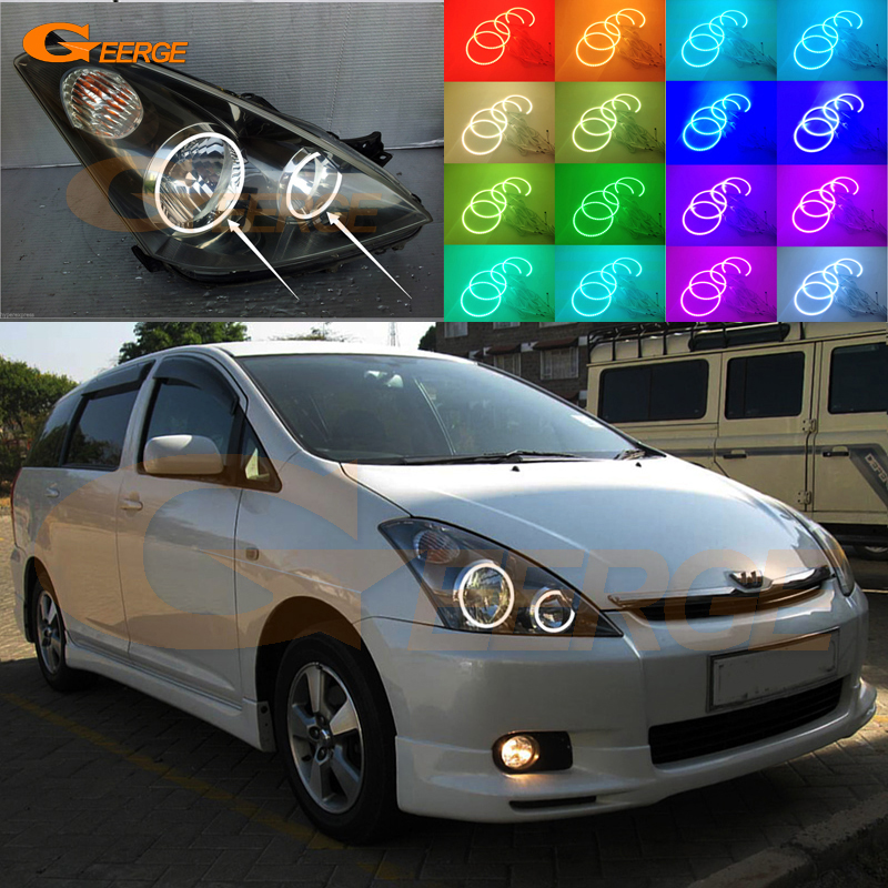 For TOYOTA WISH 2003 2004 2005 Excellent Angel Eyes Multi-Color Ultrabright RGB LED Angel Eyes kit Halo Rings for mitsubishi lancer 2008 2015 non projector excellent multi color ultrabright 7 colors rgb led angel eyes halo rings led light