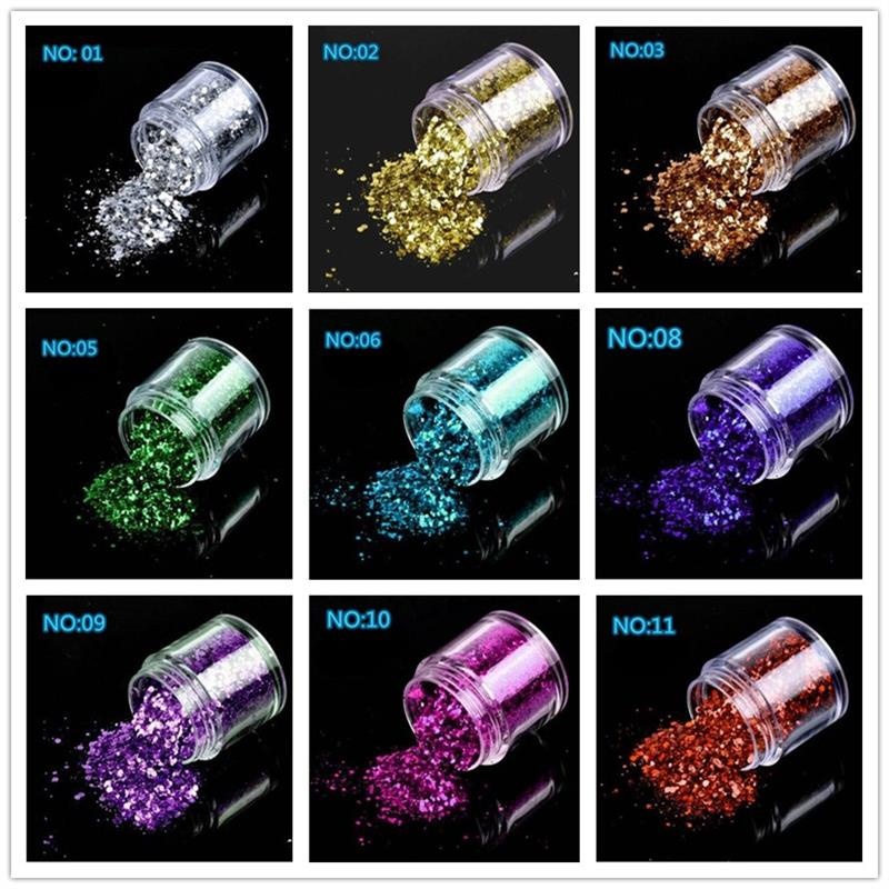 10g/box Holographic Mix Glitter Nail Art Acrylic DIY UV Gel Shining Powder Dust Nail Decortions Manicure Tools
