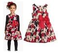 2016 Verão Vestido Da Menina Minnie Mouse Vestido Para As Meninas Impresso Vestido de festa Para Crianças Crianças Roupas de Bolinhas Bebê Menina 2-6A